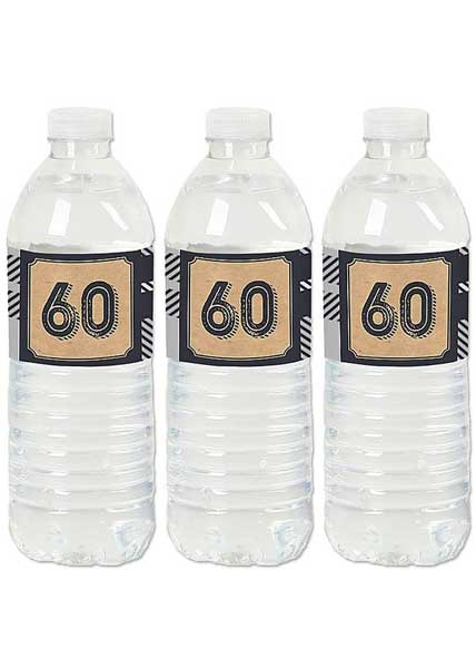 Aged to Perfection 60th birthday water bottle labels
