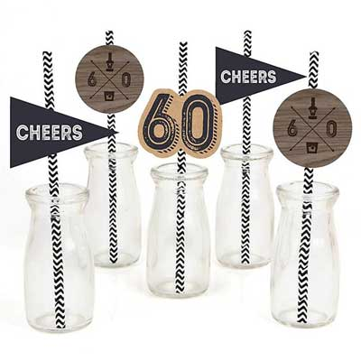 Aged to Perfection 60th birthday drinks straws