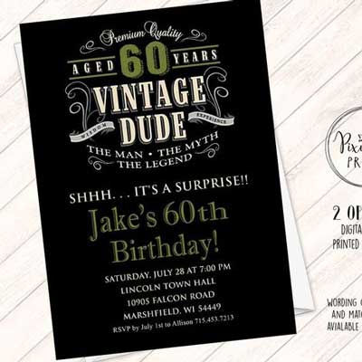 Vintage Dude 60th birthday invitation