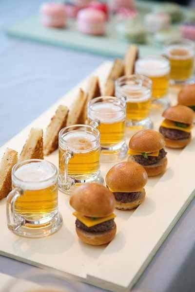 mini beer and burgers