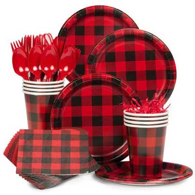 lumberjack plaid party plates