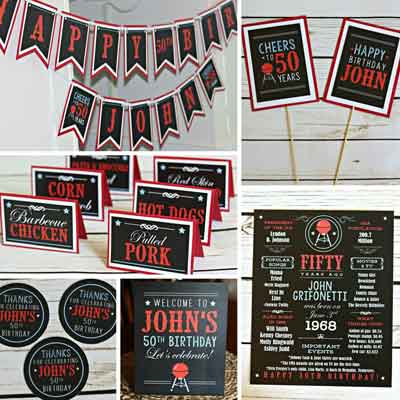 BBQ theme milestone birthday party supplies