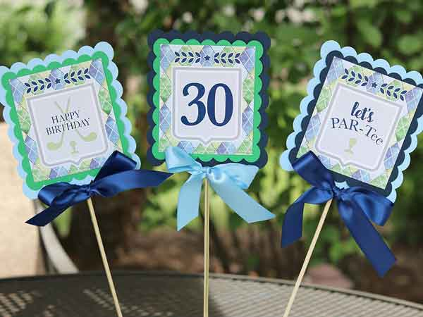 Golf Par-Tee milestone birthday centerpieces