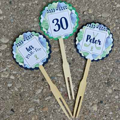 Golf Par-Tee milestone birthday cupcake toppers