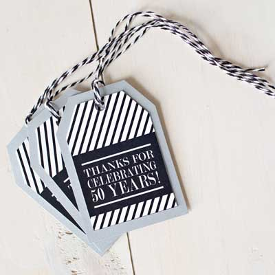 black and silver milestone birthday party tags