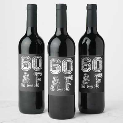 60 AF wine bottle labels