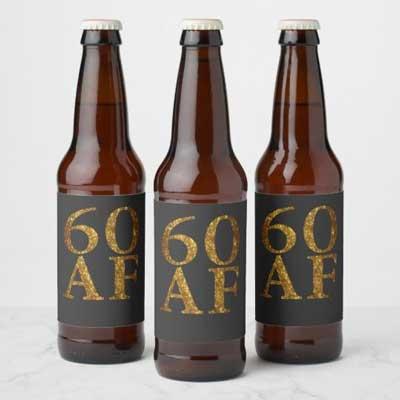 60 AF beer bottle labels