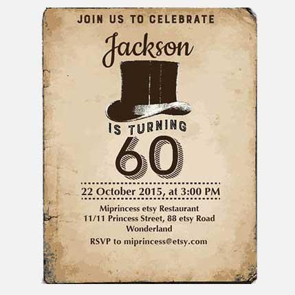60th Birthday Party Invitation vintage