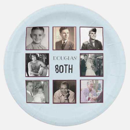 Through the Years photo collage paper plates