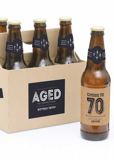 personalized beer bottle labels 70th birthday party
