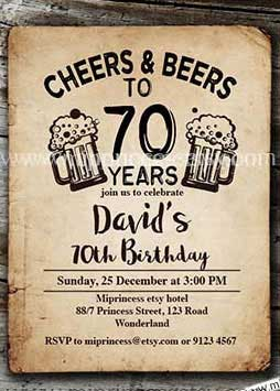 Cheers And Beers To 70 Years 70th Birthday Invitation Chandelier