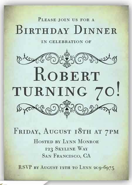 70th birthday invitation elegant vintage style