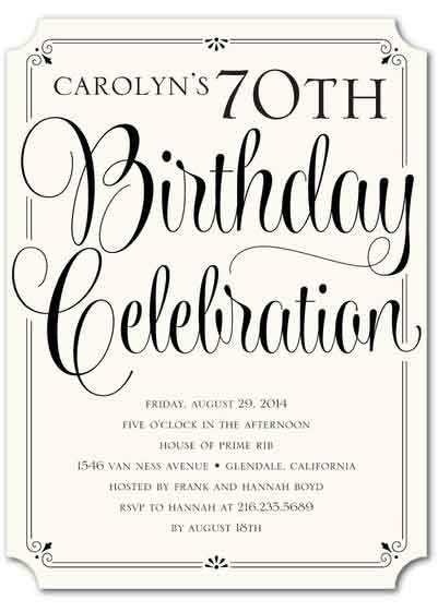 70th birthday invitation elegant font
