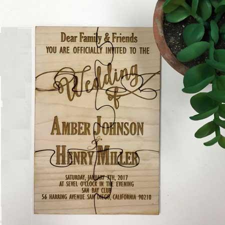 wood jigsaw invitations