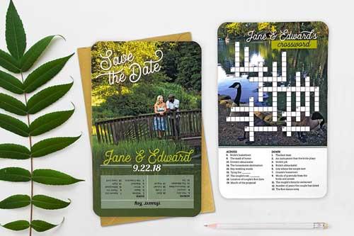 custom crossword puzzle invitations