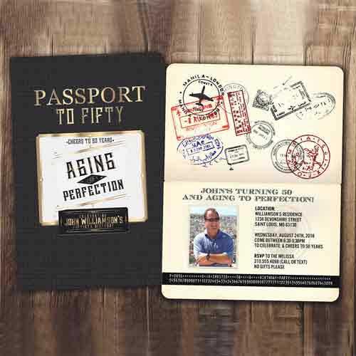 70th Birthday Party Passport Invitation