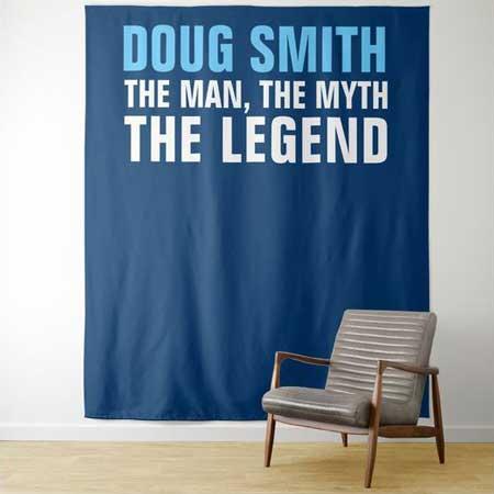 The Man, The Myth, The Legend backdrop blue