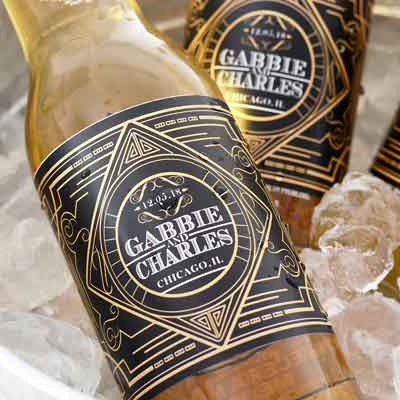 Great Gatsby Art Deco style custom beer labels