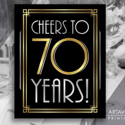 cheers to 70 years printable sign