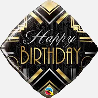 Great Gatsby Art Deco style happy birthday balloon