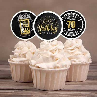 Cheers and Beers 70th birthday cupcake toppers