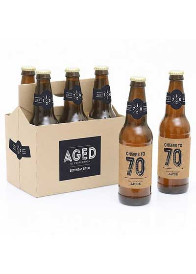 Aged to Perfection 70th birthday beer bottle labels