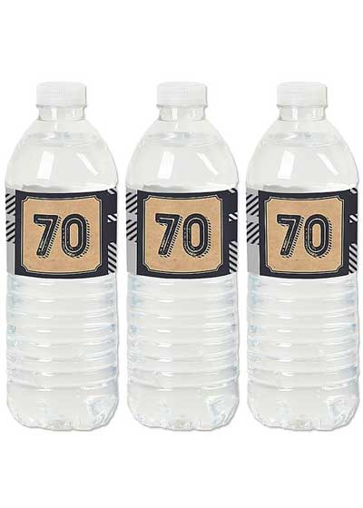 Aged to Perfection 70th birthday water bottle labels