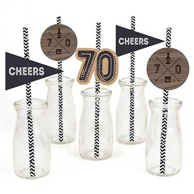 Aged to Perfection 70th birthday drinks straws