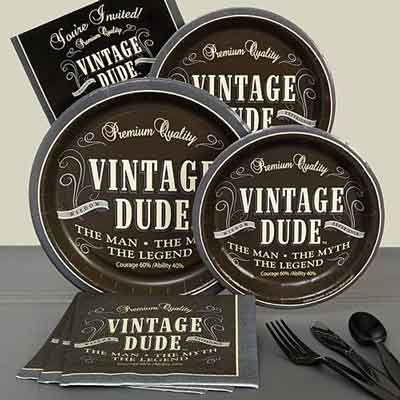Vintage Dude 70th birthday party plates