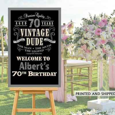 Vintage Dude 70th birthday welcome sign