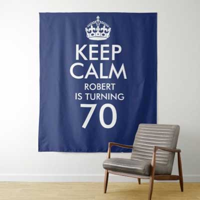 Keep Calm 70th birthday backdrop