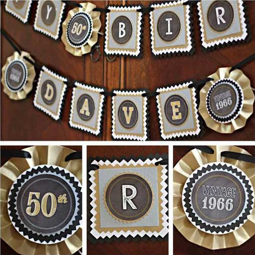Black and Gold Vintage 70th birthday banner and centerpiece