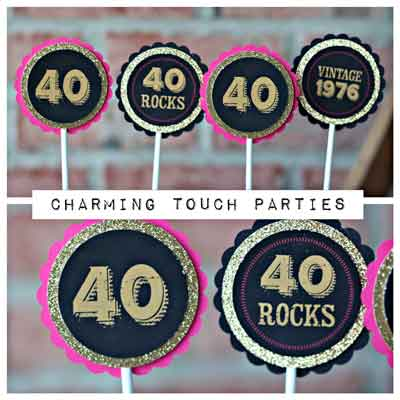 40/50/60/70 Rocks cupcake toppers