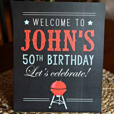 BBQ theme milestone birthday party welcome sign
