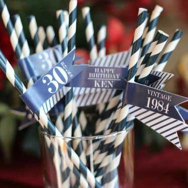 Blue and White Vintage 70th birthday drinks straws