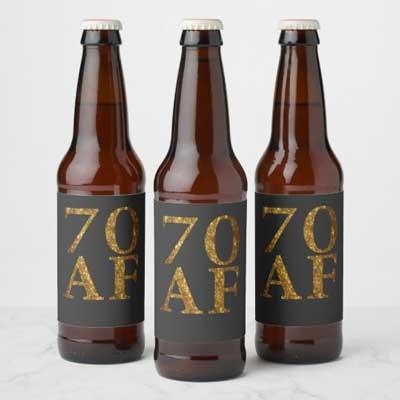 70 AF beer bottle labels