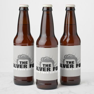 The Silver Fox beer bottle labels