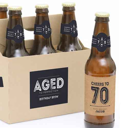 70th birthday beer bottle labels aged to perfection
