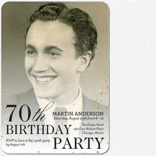 70th Birthday custom photo Invitation vintage style