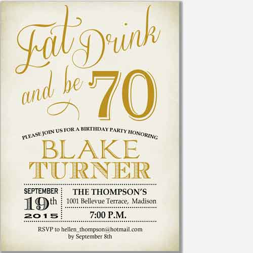 eat, drink and be 70 birthday invitation