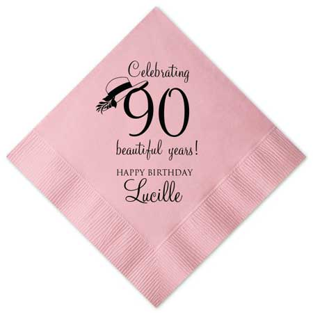 personalized paper cocktail napkins milestone birthday party
