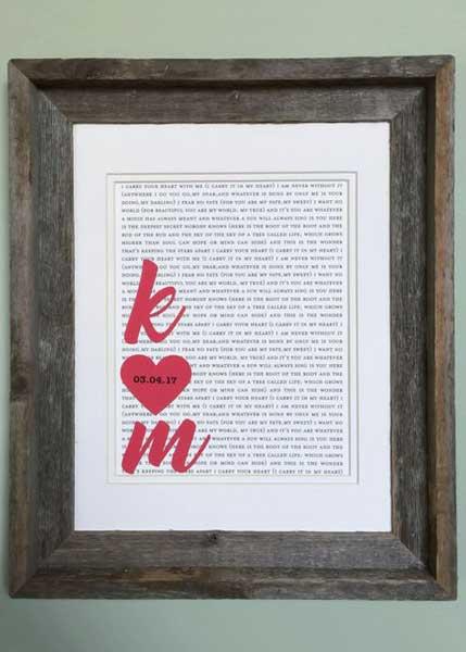 framed song lyric or poetry art