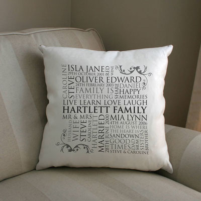 personalized word art collage cushion