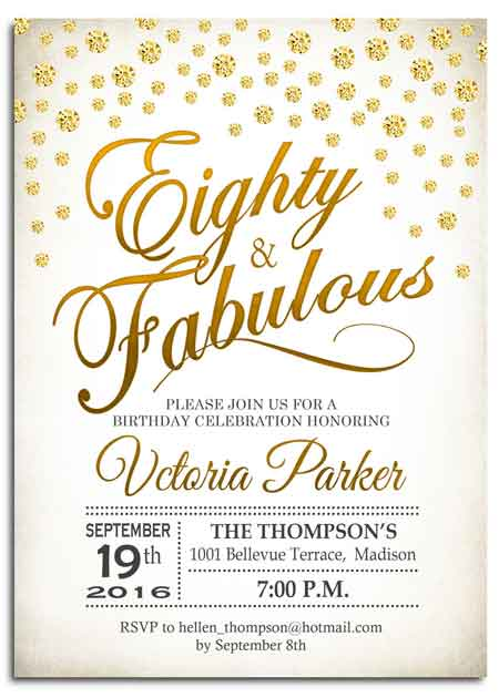 80 and fabulous invitation