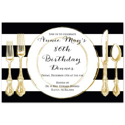 elegant dinner birthday invitation