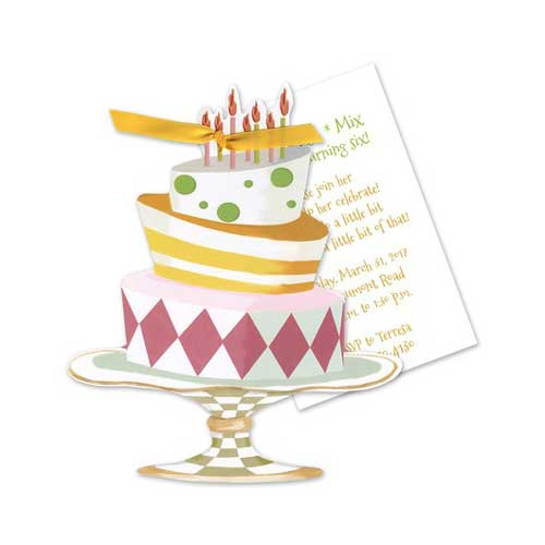 illustrated birthday cake invitation