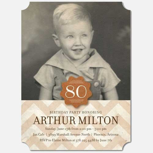 Custom Photo 80th Birthday Invitation