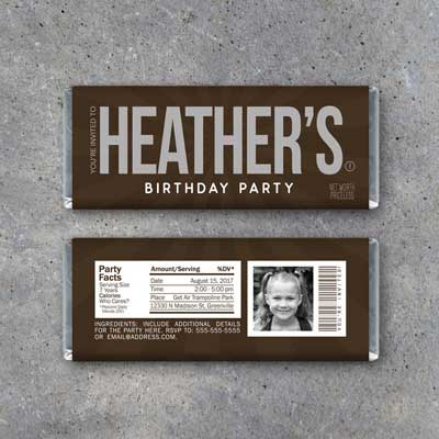 Hershey Candy Bar invitation
