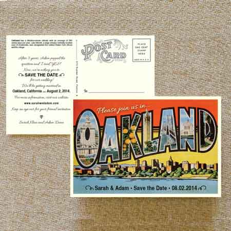 retro postcard invitations