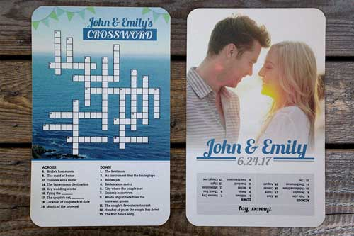 custom crossword puzzle invitations